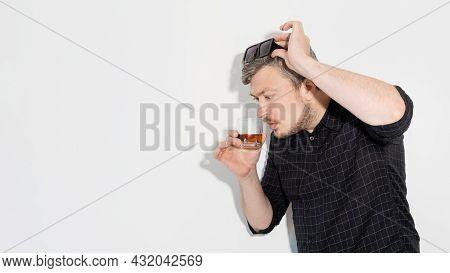 Alcohol Degustation. Expensive Drink. Strong Beverage. Drinking Habit. Surprised Amazed Man Smelling