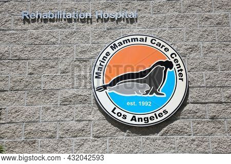 SAN PEDRO, CALIFORNIA - August 27, 2021: Sign at the Marine Mammal Care Center in San Pedro, California. A non-profit hospital for seals and sea lions that get stranded and rescued on Beaches.