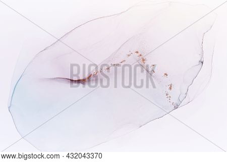 Abstract Hand Painted Alcohol Ink Texture. Light Color Creative Background For Your Design