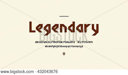 Sans Serif Letters Font In Viking Style For Logo And Headline Design. Vector Illustration