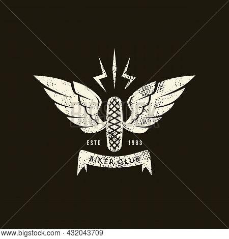Sport Emblem Biker Racing With Retro Texture. Graphic Design For T-shirt. White Print On Black Backg