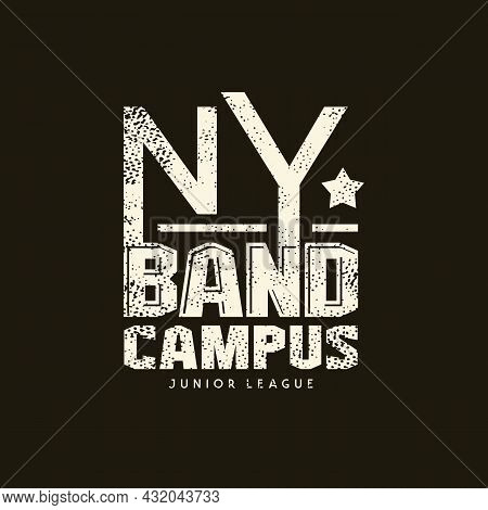 Sport Emblem New York Campus With Retro Texture. Graphic Design For T-shirt. White Print On Black Ba