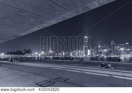 Night Scenery Of Promenade In West Kowloon Cultural District In Hong Kong City