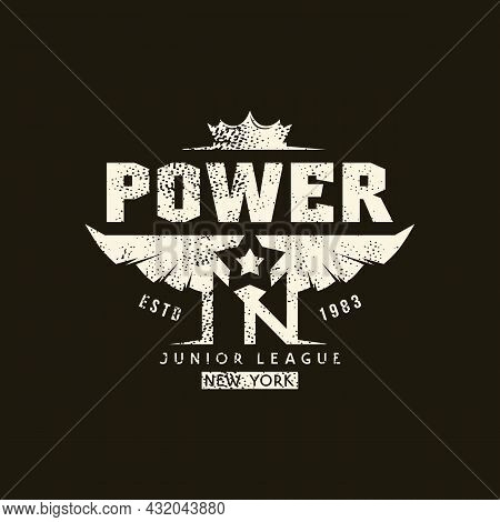 Sport Emblem New York Power With Retro Texture. Graphic Design For T-shirt. White Print On Black Bac