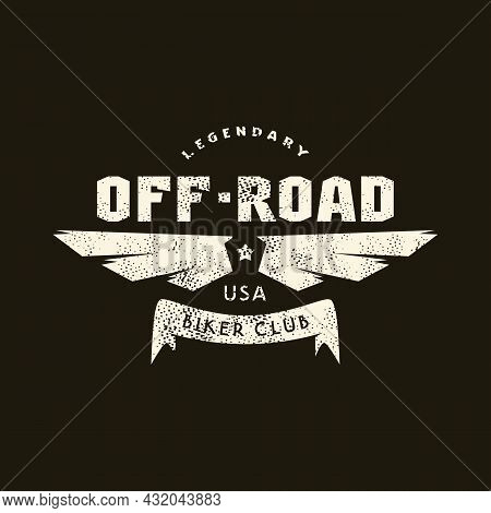 Sport Emblem Off-road Biker Club With Retro Texture. Graphic Design For T-shirt. White Print On Blac