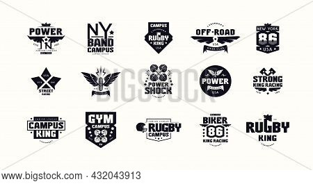 Sport Emblems And Badges Of Gym, Racing, Rugby, Biker. Graphic Design For T-shirt. Black Print On Wh