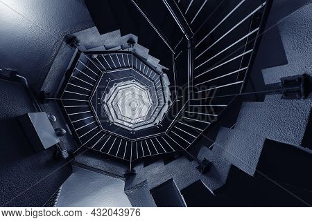 Interior View Of Modern Spiral Stairway. Building Abstract Background