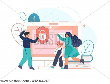 Parental Control Software, Access Restrict For Children Flat Vector Illustration. Dad And Mom Block