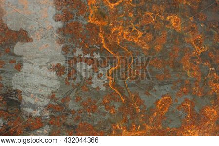 Metal Surface Of Gray Color With Rust In The Form Of Streaks And Inclusions, Top View