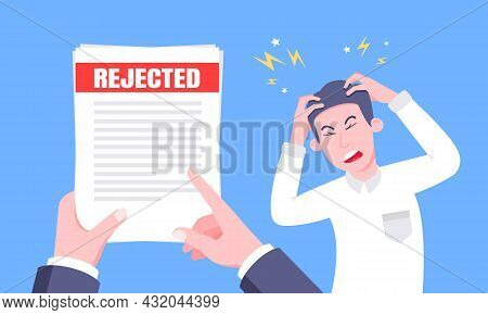 Sad Man And An Envelope With Rejected Application Form Flat Style Design Vector Illustration. Bad Jo