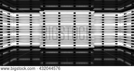 Dark Studio Room With Bright White Neon Lights On Walls. Three-dimensional Abstract Background With