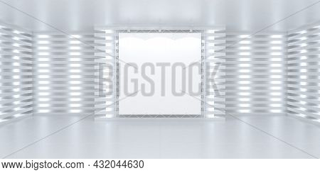 Blank White Poster Banner On The Wall In Bright Illuminated Interior. 3d Stage Background Illustrati