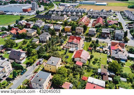 Modern Residential District In Europe Town, Aerial View. Residential Neigborhood In Sunset, Bird Eye