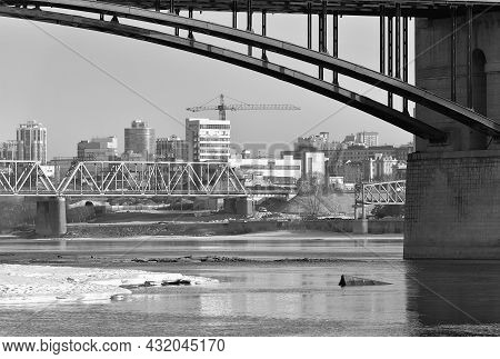 Bridges Over The Ob, Arched Span, Snow And Ice On The Shore, High Houses On The Horizon, Reflections