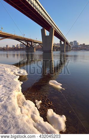 Metro-most And Automobile Bridge Over The Great Siberian River In Novosibirsk. Snow And Ice On The B
