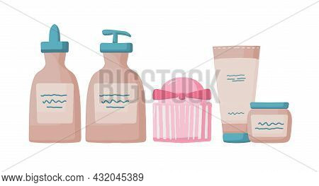 Collection Of Eco-friendly Cosmetics, Body And Face Care, Set Of Jars With Cosmetics. Organic Cosmet