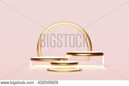 Cylinder Glass Stage Podium Empty Isolated On Pink For Modern Stage Display And Minimalist Mockup ,a