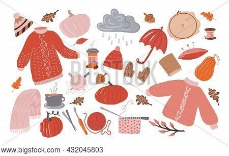 Big Set Of Autumn Hygge. Collection Of Cute Illustrations, Cozy Rainy Day, Raindrops Falling From Cl