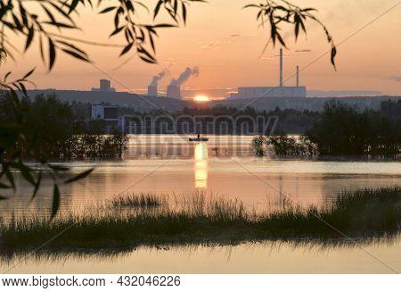Pink Sunrise Over The Ob River In Novosibirsk