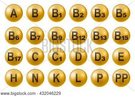 Vitamins Round Icons. Set Of Vitamins. Multivitamin Supplement. Vector Illustration. Healthy Life Co