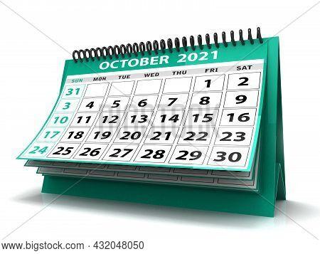 Desktop Calendar October 2021 Isolated In White Background, October 2021 Spiral Calendar For Station