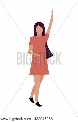 Young Woman With Hand Up Semi Flat Color Vector Character. Posing Figure. Full Body Person On White.