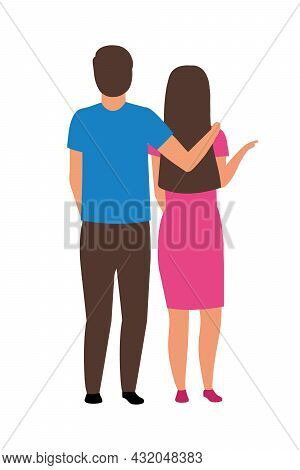 Couple Standing Together Semi Flat Color Vector Characters. Full Body People On White. Husband Suppo