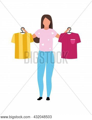 Girl Helps With T Shirts Choosing Semi Flat Color Vector Character. Full Body Person On White. Visit