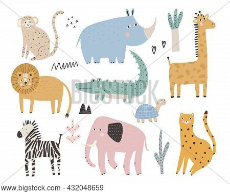 Cute African Animals And Plants In Scandinavian Style Vector Hand-drawn Colored Children's Simple Se