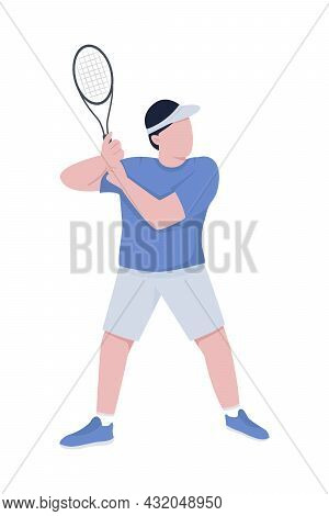 Tennis Player With Racket Semi Flat Color Vector Character. Posing Figure. Full Body Person On White