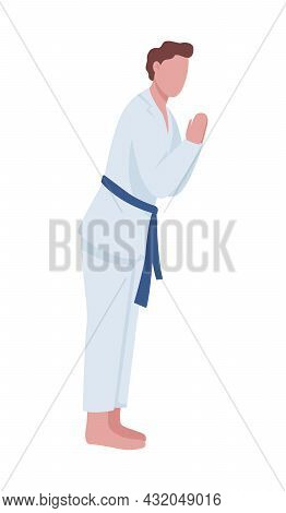 Man Practicing Judo In Dojo Semi Flat Color Vector Character. Posing Figure. Full Body Person On Whi