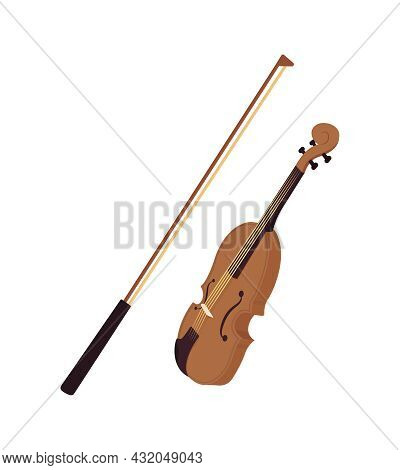 Violin With Bow Semi Flat Color Vector Object. Full Sized Item On White. String Instrument For Live