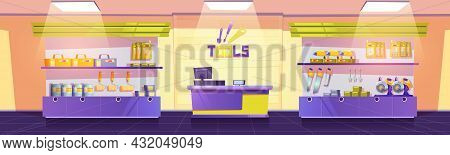 Tools Shop With Drills, Hand Saws, Screwdrivers And Spanners On Shelves. Vector Cartoon Interior Of