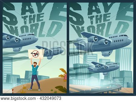 Save The World Cartoon Posters, Man Demonstrator With Crossed Gun Banner Stand Alone On Cityscape Ba