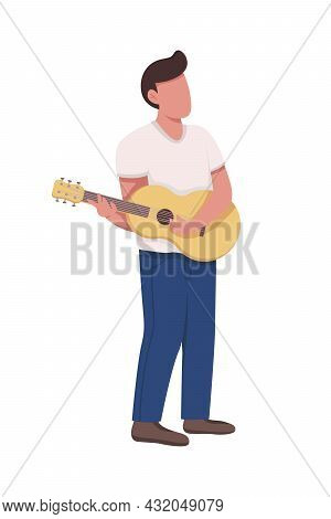 Young Man With Acoustic Guitar Semi Flat Color Vector Character. Full Body Person On White. Guitaris