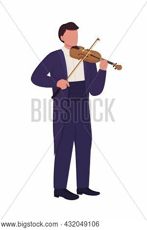 Man Playing Violin With Bow Semi Flat Color Vector Character. Full Body Person On White. Violinist I