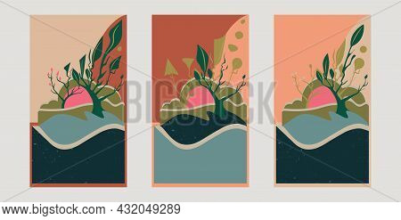 Set Of Abstract Natural Wall Art Vector Background. Abstract Design For Wall Art, Canvas Prints, Pos