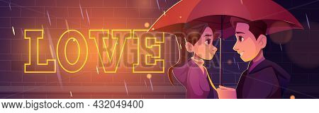 Love Story, Couple Stand Under Umbrella At Rainy Night Street. Male And Female Characters Romantic R