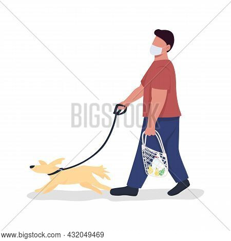 Pet Owner With Dog On Leash Semi Flat Color Vector Character. Full Body Person On White. Animal Keep