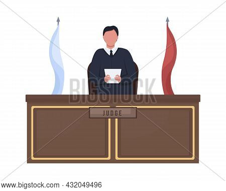 Male Judge Standing Behind Podium Semi Flat Color Vector Character. Full Body Person On White. Judgi