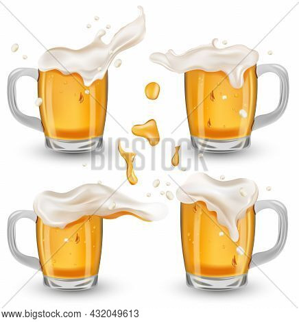 Four Various Full Glass Cup With Beer. Refreshing Mug Beer With Splashing Foam And Bubbles, Drops Be