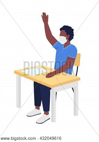 Schoolboy In Mask At Lesson Semi Flat Color Vector Character. Boy Figure. Full Body Person On White.