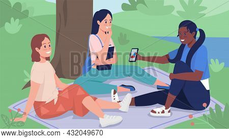 Friends On Picnic Flat Color Vector Illustration. Students Hanging Out Outdoors In Spring. Teenager