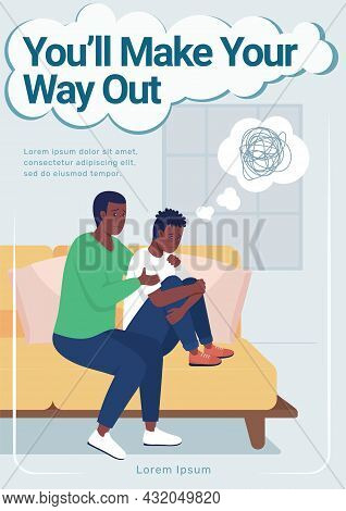 Teen Mental Health Poster Flat Vector Template. Brochure, Booklet One Page Concept Design With Carto