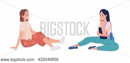 Happy Girls Talking Semi Flat Color Vector Character Set. Sitting Figures. Full Body People On White
