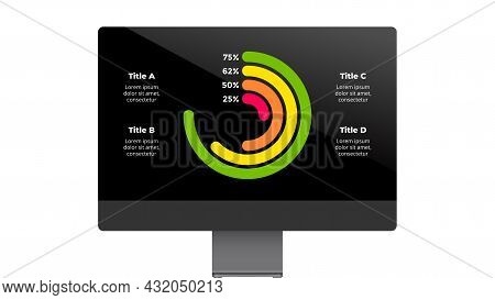 Monitor Mock Up. Infographic Slide Template. Circle Diagram Chart. Financial Report Display. Electro