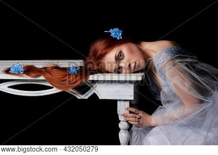 Retro Redhead Girl With Long Hair Portrait In Light Dress. Perfect Woman On Black Background. Gorgeo