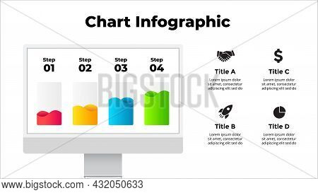 Monitor Mock Up. Infographic Slide Template. 4 Steps Chart With Liquid. Electronic Device Presentati