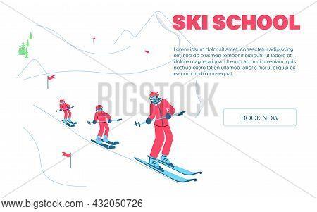 Group Of Kids Learning How To Ski On Slope With Trainer