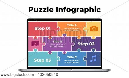 Computer Mock Up. Puzzle Laptop Infographic Slide Template. Electronic Device Presentation. User Int